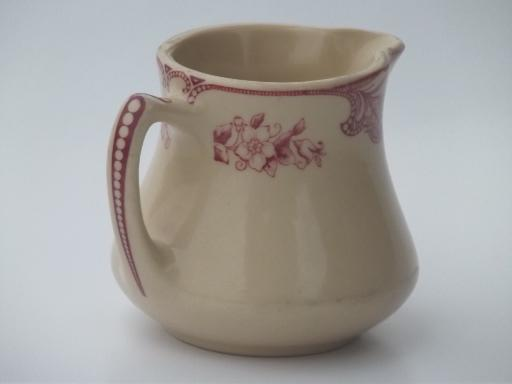 vintage adobe ware tan restaurant china creamer, red floral cream pitcher
