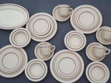 vintage adobeware ironstone dinnerware set, old adobe tan Syracuse china