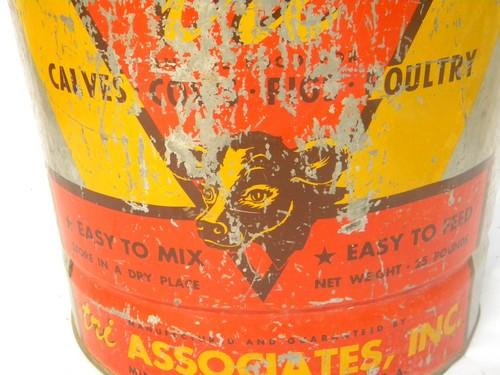 vintage advertising bucket farm anima l& livestock feed w/calf graphic