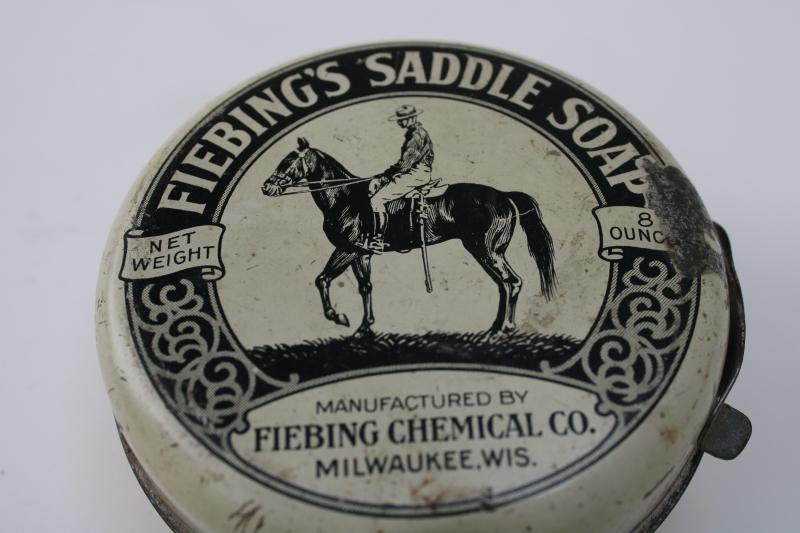 vintage advertising tin horse & rider graphics Fiebing Milwaukee Wisconsin