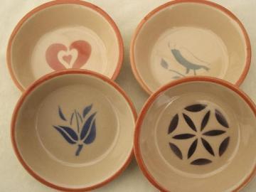 vintage airbrush adobe ware stoneware bowls, folk art stencil pattern