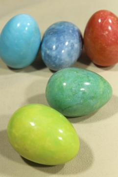 vintage alabaster marble eggs, goose egg size dyed stone Easter eggs in bright colors