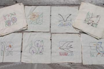 vintage album quilt blocks, hand-stitched embroidered cotton quilt squares birds & flowers