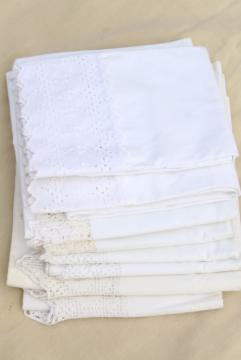 vintage all white lace trimmed cotton pillowcases, eyelet embroidery trim & crochet edgings