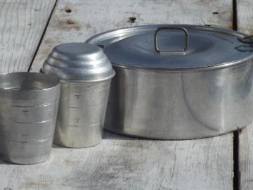 vintage aluminum backpacker's camping cookware, pan w/ lid, travel cups