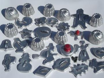 vintage aluminum cookie cutters, biscuit cutters & individual jello molds