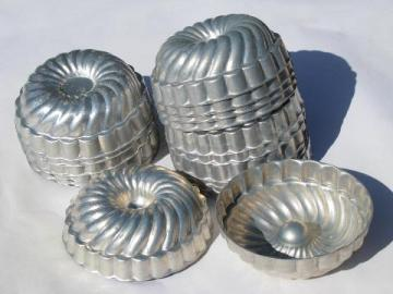 vintage aluminum individual gelatin molds, jello ring mold lot of 16