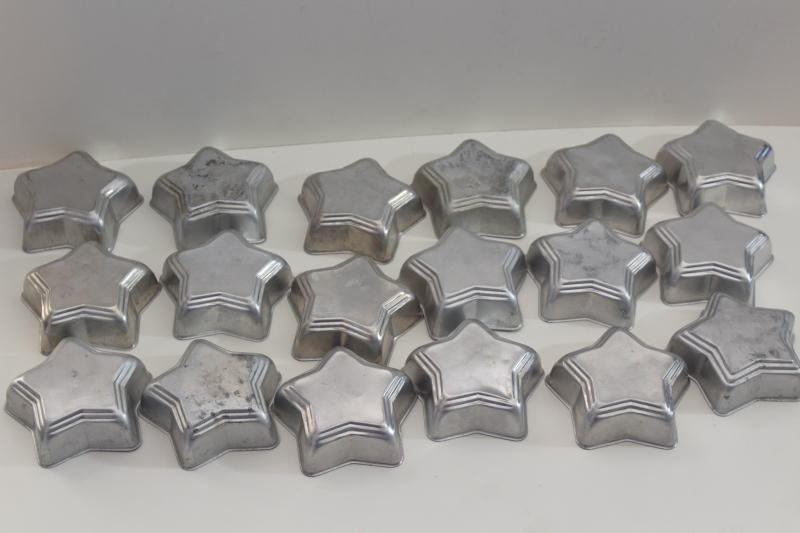 vintage aluminum jello molds or baking pans, individual size star shape old set of 18