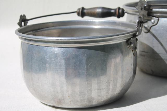 vintage aluminum jelly kettle pans or camping cook pots w/ wire bail handles