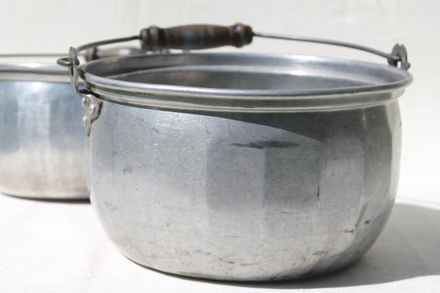 Vintage Aluminum Jelly Kettle Pans Or Camping Cook Pots W