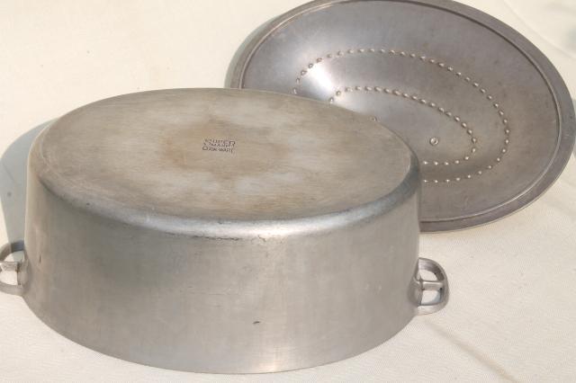 Vintage Aluminum Oval Roaster Dutch Oven Big Old Super