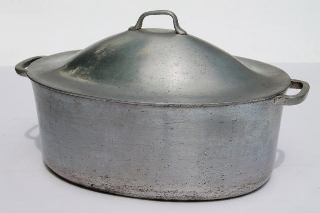 Vintage Aluminum Oval Roaster Roasting Pan For Camp Cookware