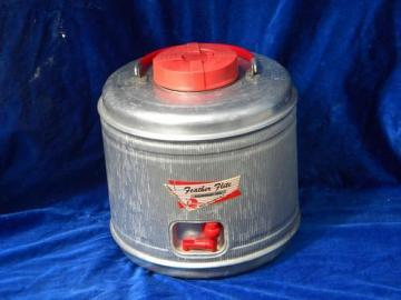 vintage aluminum picnic & camping thermos, 50s-60s insulated cooler jug
