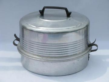 vintage aluminum pie & cake carrier cover, for potluck or picnic