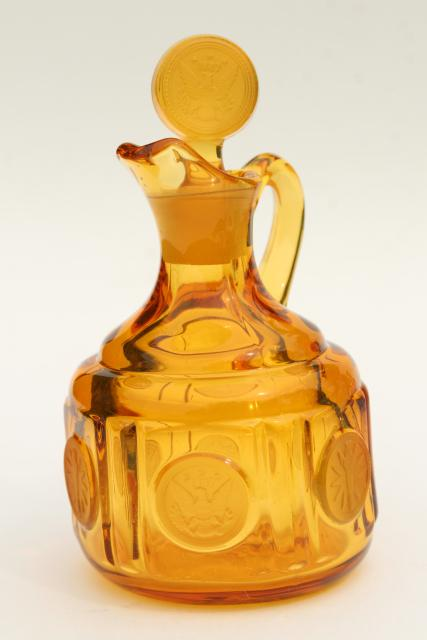 vintage amber Fostoria coin glass cruet bottle, pitcher & stopper