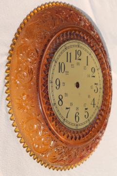 vintage amber Tiara sandwich pattern glass, large round plate wall clock face