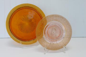 vintage amber & blush pink glass cake plates, worn gold encrusted band depression glass