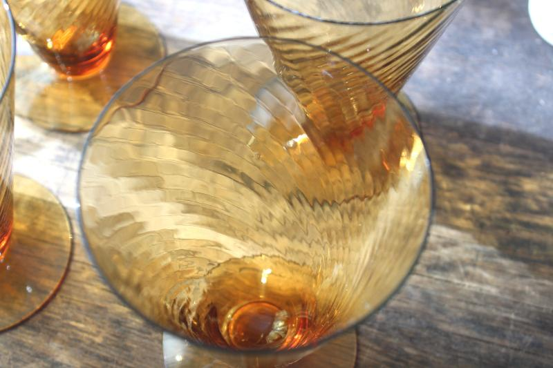 vintage amber depression glass iced tea footed tumblers, spiral corded optic twist glasses