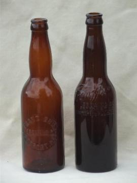 vintage amber glass beer bottles, Franz Bros. Brewery Freeport Illinois