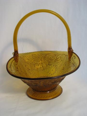 vintage amber glass bride's basket, Indiana daisy pattern sandwich glass