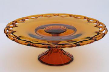 vintage amber glass cake stand, Colony open lace edge glass pedestal plate