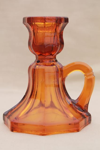 Vintage Amber Glass Candle Holders Small Low Chamber