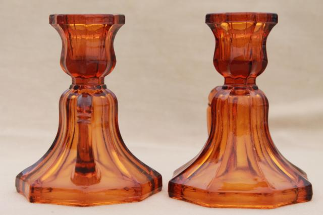 vintage amber glass candle holders, small low chamber candlesticks w/ ring handles