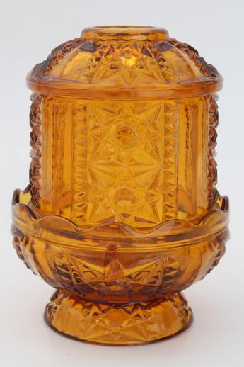 Vintage Amber Glass Candle Lamp Fairy Light Candle Holder