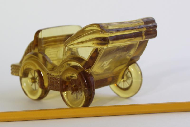 vintage amber glass candy container or planter, old time motorcar antique auto