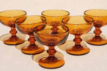 vintage amber glass champagne or cocktail glasses, 60s 70s retro Hoffman House stemware