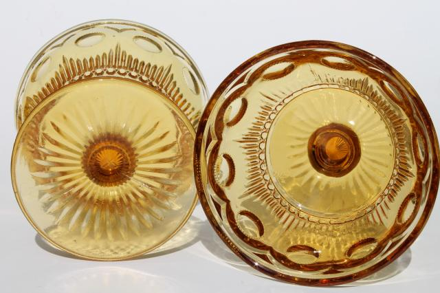 vintage amber glass coinspot thumbprint glasses, Bartlett Collins Manhattan sherbet dishes