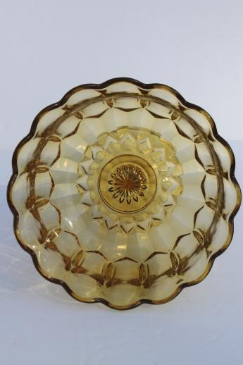vintage amber glass compote bowl / pedestal fruit dish, Fairfield Anchor Hocking