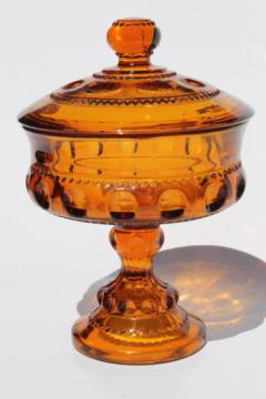 vintage amber glass covered box / candy dish, Kings Crown pattern Indiana glass