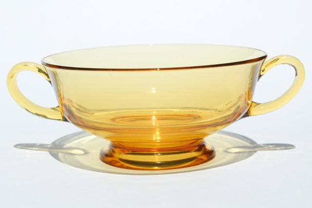 vintage amber glass dishes, double handled bowls for cream soup or boullion cups