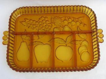 vintage amber glass divided tray, Indiana fruit pattern serving plate
