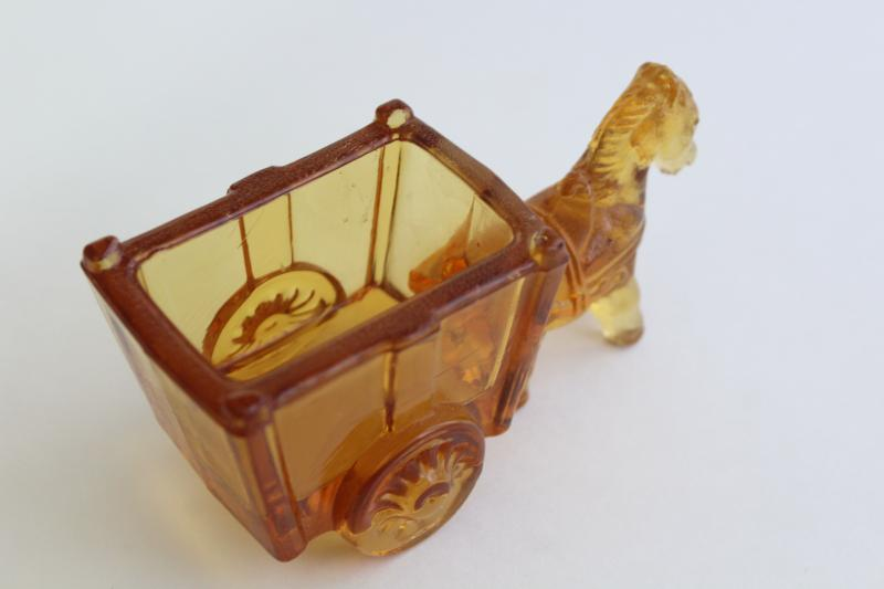 vintage amber glass donkey cart, old candy container, toothpick or match holder glass novelty