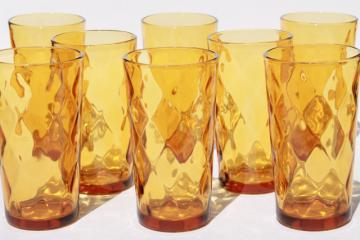 vintage amber glass drinking glasses, diamond optic pattern glass tumbler set of 8