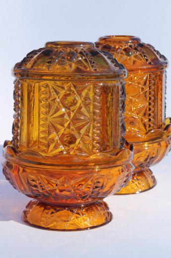 Vintage Amber Glass Fairy Lights Indiana Glass Candle
