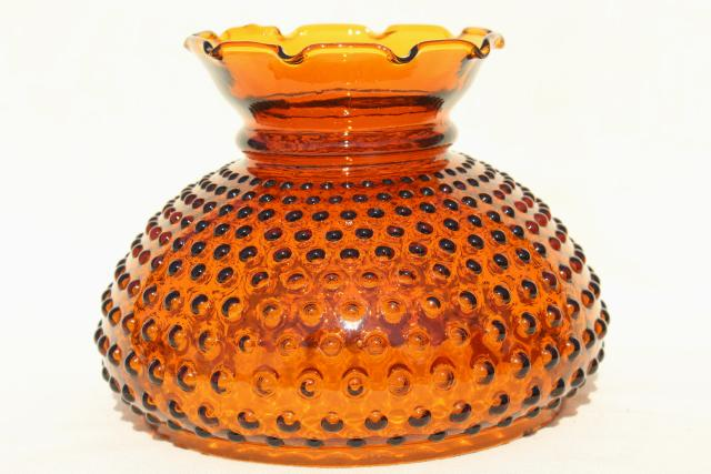 vintage amber glass hobnail lampshade, replacement student