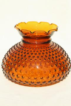 vintage amber glass hobnail lampshade, replacement student lamp desk light shade