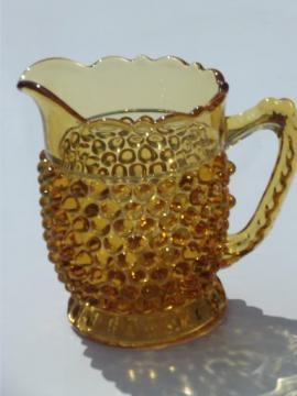 vintage amber glass hobnail pattern milk pitcher or large creamer