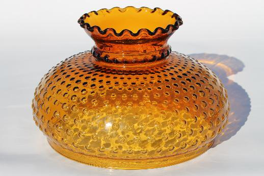 Vintage amber glass hobnail pattern shade replacement lamp shade for large lamp or hanging light
