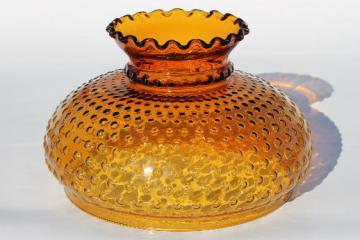 vintage amber glass hobnail pattern shade, replacement lamp shade for large lamp or hanging light