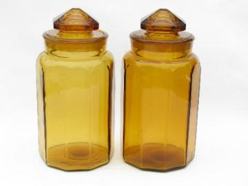 vintage amber glass kitchen canisters, heavy canister jars w/ ground stoppers