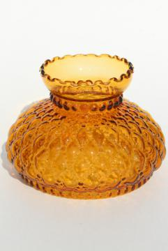 vintage amber glass lamp shade, quilted diamond quilt pattern Fenton lampshade