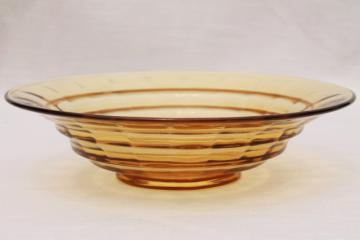 vintage amber glass large console bowl, block optic pattern depression glass