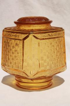 vintage amber glass light shade globe, square chinese lantern shape lampshade