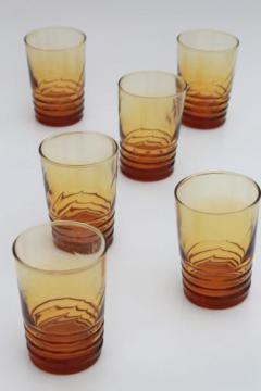 vintage amber glass low balls old-fashioned glasses, set of Libbey optic swirl tumblers
