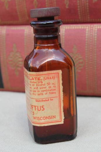 vintage amber glass medicine bottle, tincture of merthiolate pre mercurochrome label