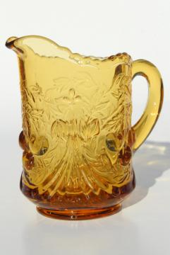 vintage amber glass milk pitcher creamer, LG Wright cherry cherries pattern glass
